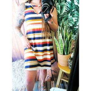 Soft striped choker detailed mini dress 🌞